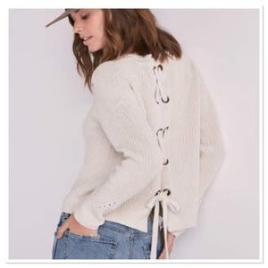 Lucky Brand Lace-Up Back chunky knit sweater
